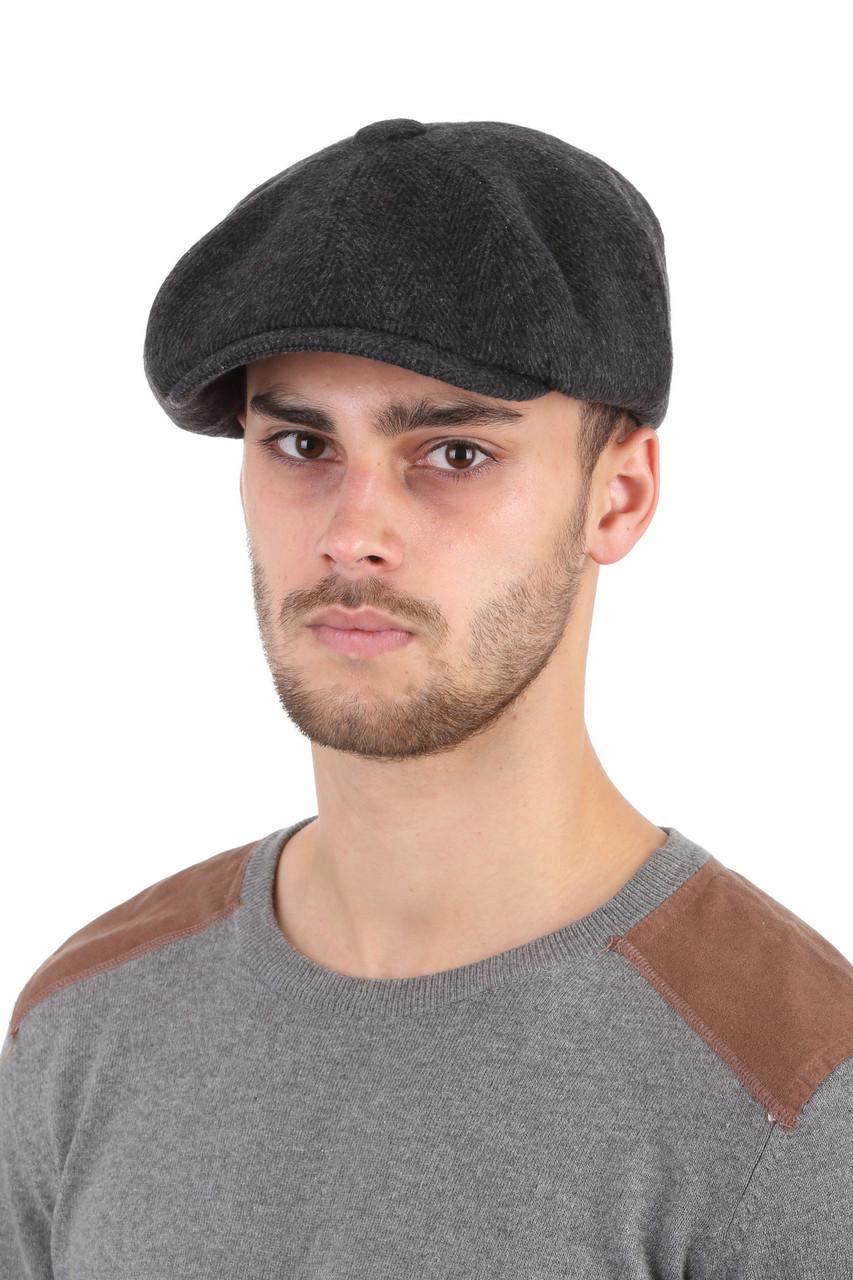 Кепка мужская  хулиганка темно-серая в елочку