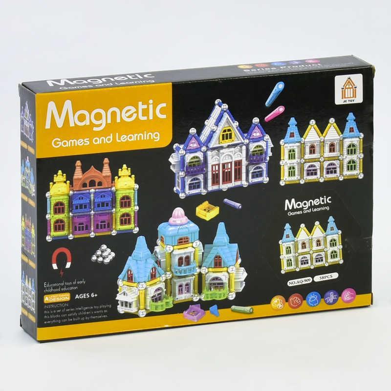 Конструктор магнитный Замок AQ - 909 (72) 58 деталей, в коробке