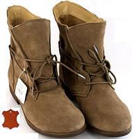 Женские ботинки из натуральной кожи Beige, фото 1