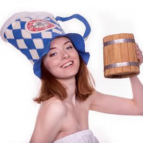 Шапка для сауны Sauna Pro Кружка Сине-белый A-181, КОД: 167898