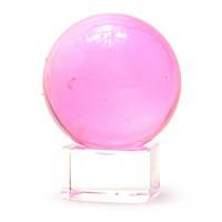 Хрустальный мини шар на подставке розовый