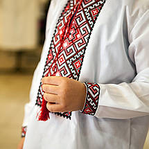 Дитяча сорочка для хлопчика з червоним орнаментом, фото 3