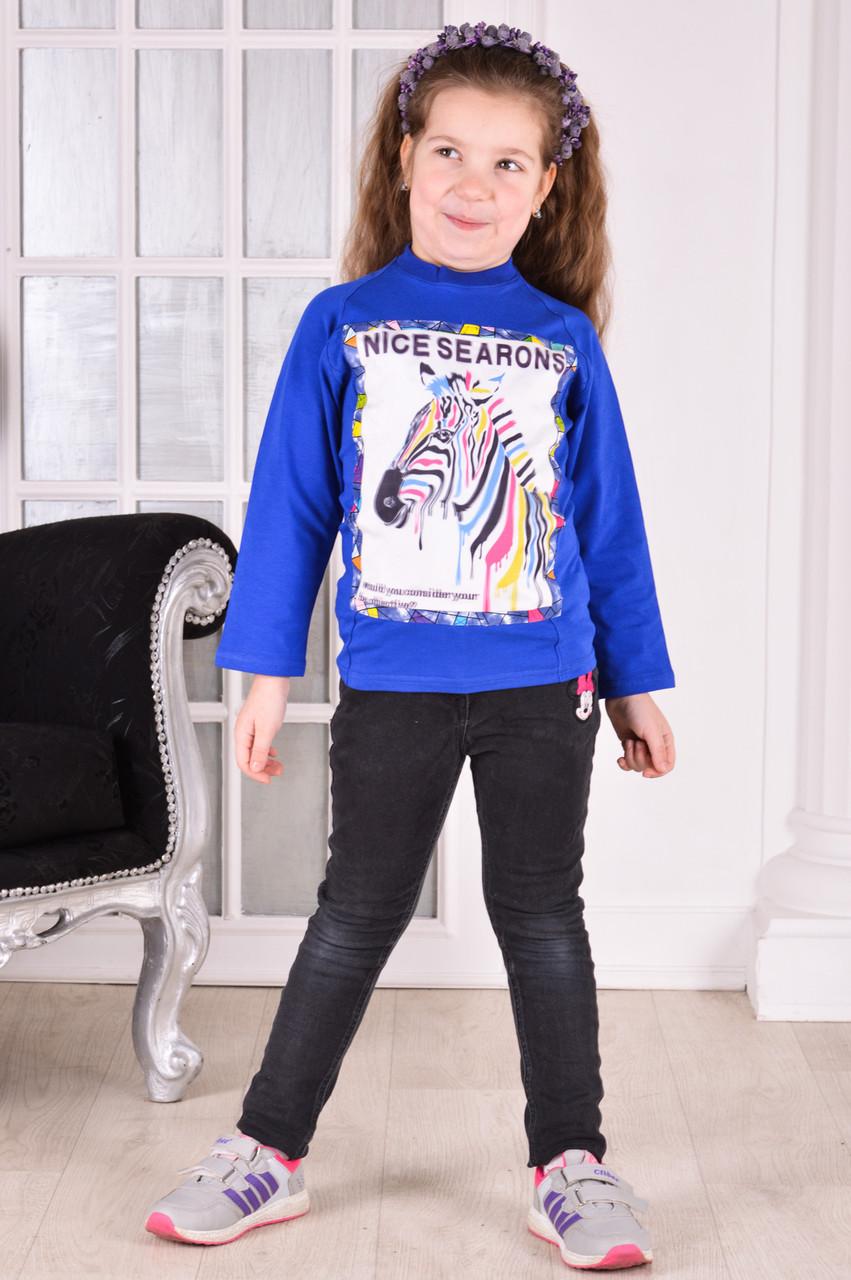 "Реглан для девочки "" Зебра 3D"" фэмили лук для всей семьи от 6 до 10 лет(116;122;128;134;140)"
