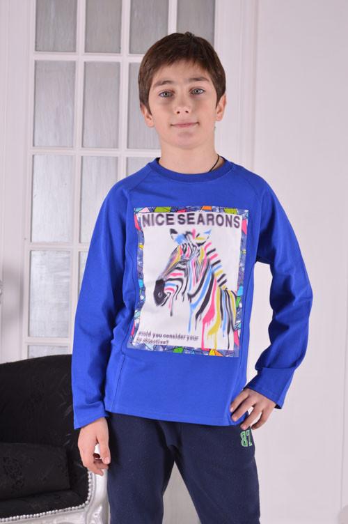 """Свитшот реглан для мальчика электрик """"Зебра 3D"""" от 6 до 10 лет (116;122;128;134;140)"""
