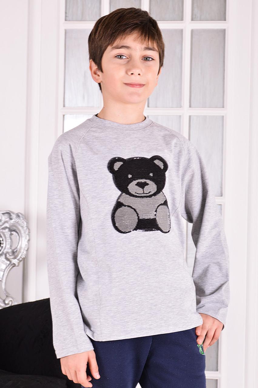 """Свитшот реглан для мальчика с нашивкой """"Панда""""  от 6 до 10 лет (116;122;128;134;140)"""