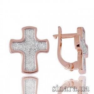 Стильные золотые серьги с камнями Крестики 3788