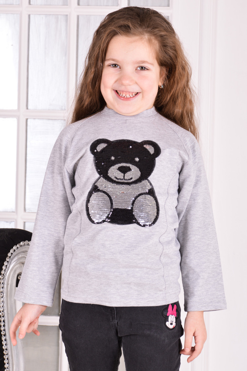 "Свитшот реглан для девочки с нашивкой ""Панда"" от 6 до 10 лет(116;122;128;134;140)"