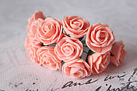 Букетик розочек 2,5 см диаметр мини 12 шт. персиково-розового цвета на стебле, фото 1