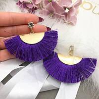 Сережки золотий хвіст з фіолетовою бахромою