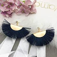 Сережки золотий хвіст з темно синій бахромою