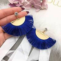 Сережки золотий хвіст з синьою бахромою