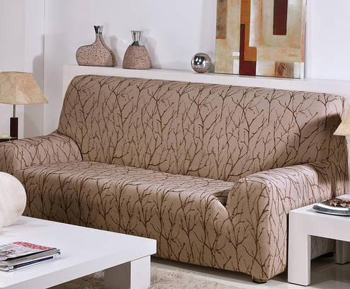 Чехол на диван 3-х местный натяжной Ванеса Мокко Беж, фото 2