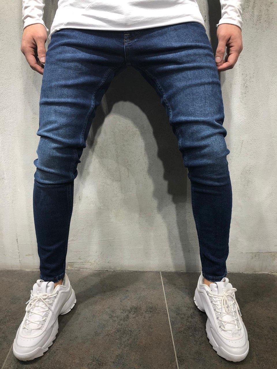 😝 Джинсы - Мужские джинсы темно-голубые