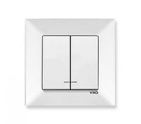 Выключатель двухклавишный с подсветкой белый Viko Meridian
