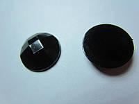Камень клеевой (серединка) акриловый чёрный гранённый, диаметр 16 мм, уп. 1 шт.