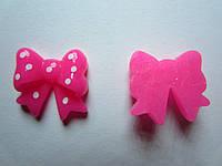 Серединка бантик розовый в горошек 17*15 мм