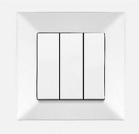 Выключатель 3-х клавишный белый Viko Meridian