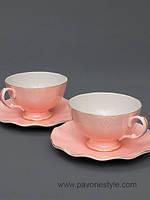 Чайный набор на 2 персоны Грациозо Россо из костяного фарфора Pavone