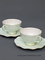 Чайный набор на 2 персоны Грациозо Верде из костяного фарфора Pavone