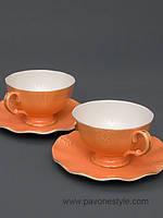 Чайный набор на 2 персоны Грациозо из костяного фарфора Pavone