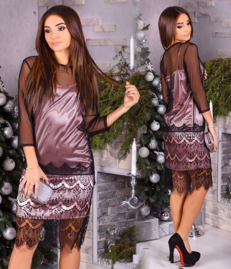 Комбинированное платье из атласа, сетки и кружева  арт 8055-510