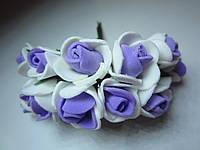 Розочка латексная бело-фиолетовая, букетик из 11 цветков, диаметр розы 15-20 мм