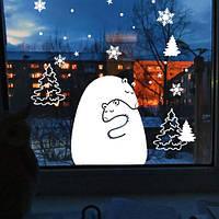 Новогодняя наклейка Белые медведи (виниловая, самоклеющаяся наклейка на окно, стикер на стекло)