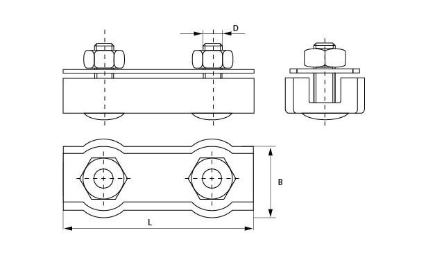 Схема зажима для тросов duplex