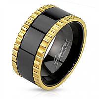 Мужское кольцо из стали крутящееся Spikes R-M3682 черное, глянцевое