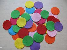 Фетровая заготовка круг диаметр 4 см., цвет микс (100 шт)