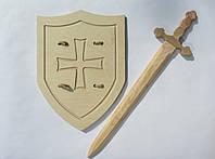 Рыцарский мечВикинга 54 см со щитом Английский рыцарский 42х32 см, фото 1
