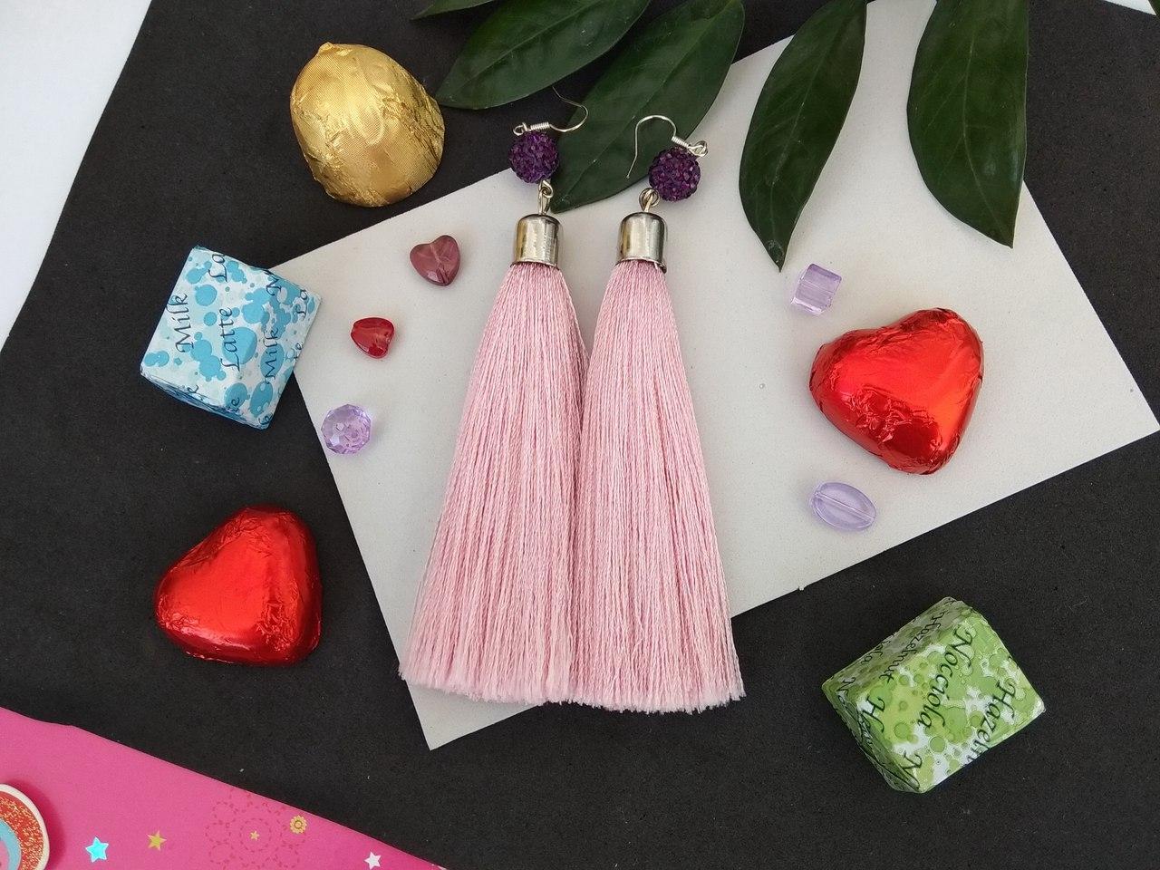 Сережки сережки пензлика Рожеві Пудра шамбала Pudra рожеві рожевий колір кисть довгі висячі рожевий Кисті