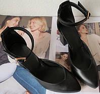 Комфортные туфли Limoda из натуральной кожи босоножки на каблуке 6 см черная кожа