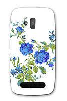 Чехол для Nokia Lumia 610 (Синие цветы)