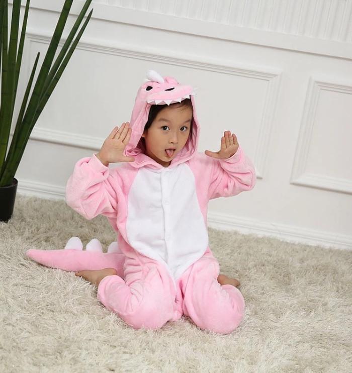 Кигуруми дракон детский, розового цвета