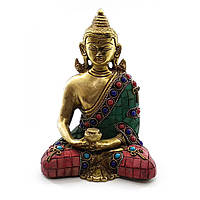 Статуэтка Будда бронзовый бирюза, кораллы (15х11,5х7,5 см)