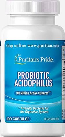 Puritan's PrideProbiotic Acidophilus 100 caps, фото 2