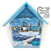Ключница домик Зима маленькая 18 * 21 см