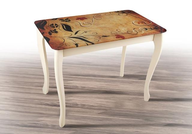 Стол обеденный Смарт со стеклом ваниль