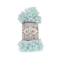 Пряжа Alize Puffy 15 мятный (Пуффи Ализе) для вязания без спиц руками