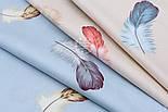 """Сатин тканина """"Великі пишні пір'я"""" на сіро-блакитному №1705с, фото 4"""