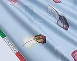 """Сатин тканина """"Великі пишні пір'я"""" на сіро-блакитному №1705с, фото 3"""
