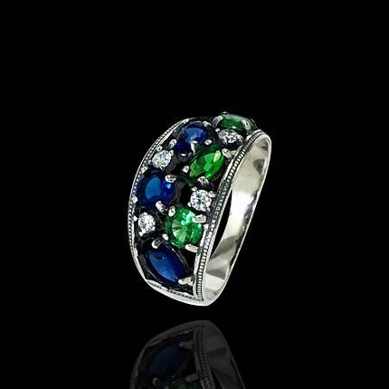 Серебряное кольцо с фианитами, 10 камней, фото 2