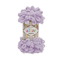 Пряжа Alize Puffy 27 светлая сирень (Пуффи Ализе) для вязания без спиц руками
