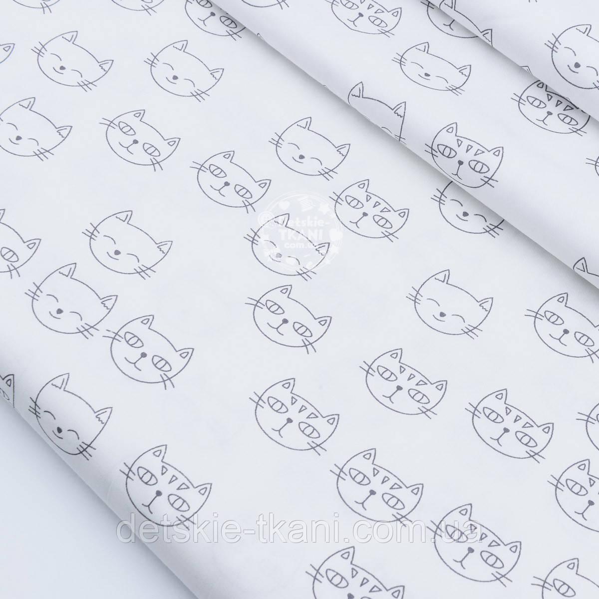 """Сатин ткань """"Мордочки котов"""" серые на белом, № 1706с"""