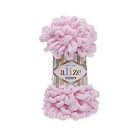 Пряжа Alize Puffy 31 светло-розовый (Пуффи Ализе) для вязания без спиц руками