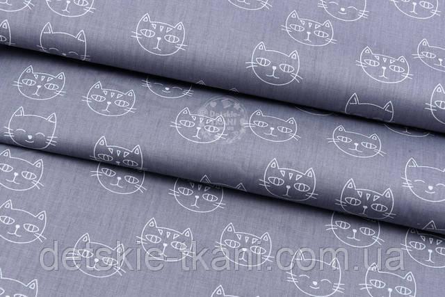 Серый сатин с котами