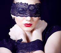 Ажурная маска на глаза в комплекте с повязкой для рук, эротическая маска. В розницу и оптом.