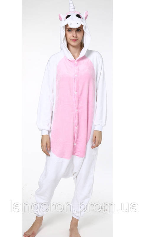 Кигуруми единорог белый с розовыми крыльями и животом рост 156-165 М  kigurumi костюм - 714b7921e8bcb