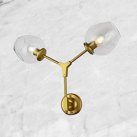 "Золотая бра ""Молекула"" (56-LWPR0231-2 GD) прозрачный, фото 2"